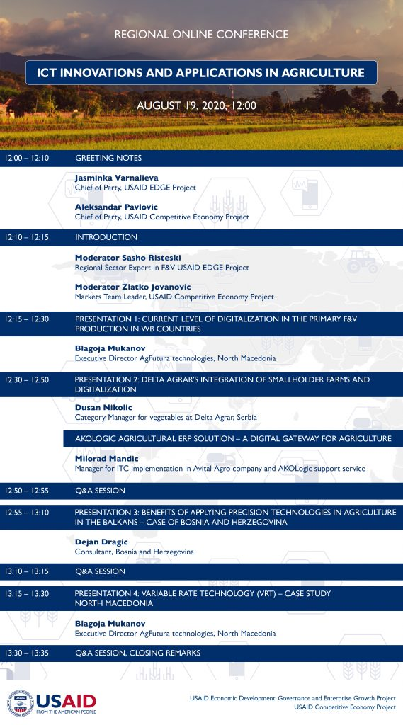 """Regional online conference """"ICT innovations and applications in agriculture"""""""